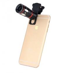 Универсальный набор объективов 4-в-1 для смартфонов (fish eye, macro, telescopy, wide) чёрный