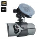 Видеорегистратор с двойным датчиком CMOS, экран 2.7,' GPS лог, G-сенсор, 130 градусов съёмка