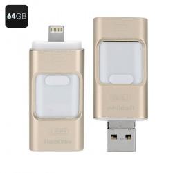 Флеш-диск U-диск, 64Гб для Андроид / iOS / PC, разъём USB / miniUSB / iOS