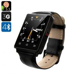 Смарт-часы NO.1 D6 - Android 5.1, 3G, Bluetooth 4.0, Wi-Fi, GPS, шагомер, барометр (чёрные)