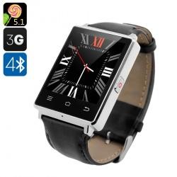 Смарт-часы NO.1 D6 - Android 5.1, 3G, Bluetooth 4.0, Wi-Fi, GPS, шагомер, барометр (серебро)