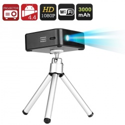 Мини DLP проектор E5, 120 люмен, 2000:1, Андроид, Wi-Fi, батарея 3000мАч, чёрный