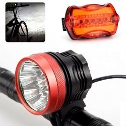 Велофара 15000лм, батарея 12000мАч, задний фонарь, дополнительное крепление на голову