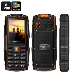 Защищённый телефон VKworld Stone V3 IP67, 3x GSM SIM, FM радио, фонарик (оранжевый)