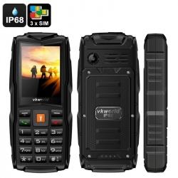 Защищённый телефон VKworld Stone V3 IP67, 3x GSM SIM, FM радио, фонарик (чёрный)