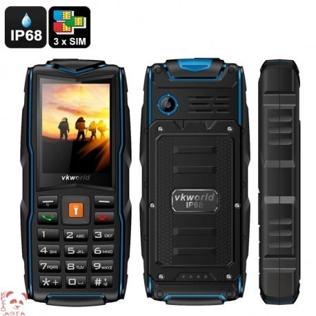 Защищённый телефон VKworld Stone V3 IP67, 3x GSM SIM, FM радио, фонарик (синий)
