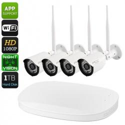 Регистратор NVR комплект с 4 камерами IP66, 1080p, слот SATA (белый)