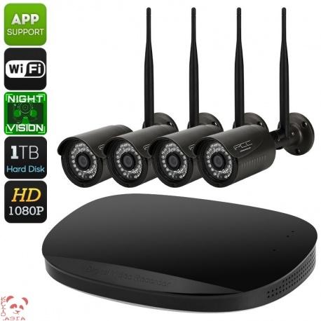Регистратор NVR комплект с 4 камерами IP66, 1080p, слот SATA (чёрный)