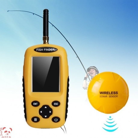 Рыболокатор (эхолот) с беспроводным сонаром, датчик 90 градусов, экран 2.4 дюйма