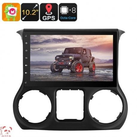 Медиацентр 1Din для Jeep Wrangler 2016, экран 10.2', GPS, Андроид, CAN BUS