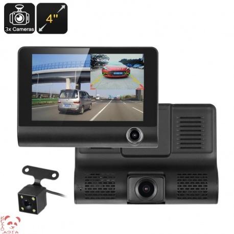 Автомобильный видеорегистратор экран 4', G-сенсор, 3 камеры