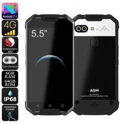 Защищённый AGM X2, 4G, Android 7.1, 6Гб/64Гб, IP68, OTG, аккумулятор 6000мАч