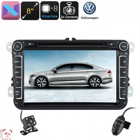 Медиацентр 2Din для VW Passat, экран 8', GPS, Андроид 7.1, CAN BUS, Bluetooth, Wi-Fi, 3G, камеры