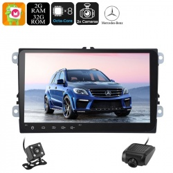 Медиацентр 2Din для Mercedes Benz ML, экран 9', GPS, Андроид, CAN BUS, Bluetooth, Wi-Fi, 3G, камеры