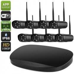 Регистратор NVR комплект с 8 камерами IP66, 1080p, слот SATA (чёрный)