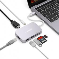 Адаптер USB-C 7-портовый HDMI 4K, USB-C, SD, microSD, 2x USB 3.0, 1Gb Ethernet