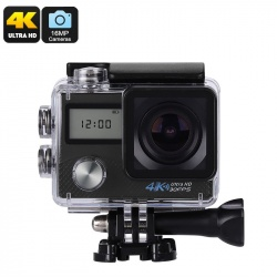 Экстрим-камера K2, 16Мп CMOS, 170 градусов объектив, 4К видео, IP68, Wi-Fi (чёрный)