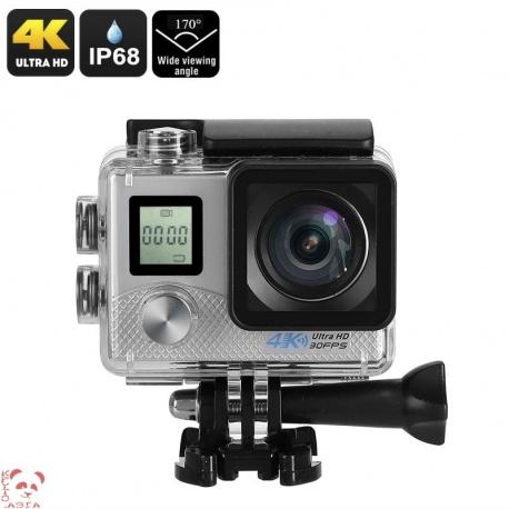Экстрим-камера, Sony 16MP 1/3.2' CMOS , 170 градусов объектив, 4К видео, IP68, Wi-Fi (серебро)