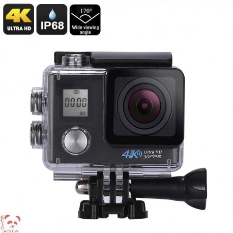 Экстрим-камера, Sony 16MP 1/3.2' CMOS , 170 градусов объектив, 4К видео, IP68, Wi-Fi (чёрный)