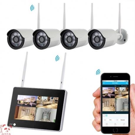 Регистратор NVR в комплекте с 4 камерами IP67, 1080p, слот SATA
