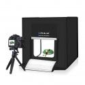 Портативная складная фотостудия 40x40, 2х 1200люмен свет, серебристый задник, съёмка без теней