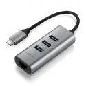 Переходник-адаптер USB-C на 3 порта USB 3.0 и 1000Мбит Ethernet