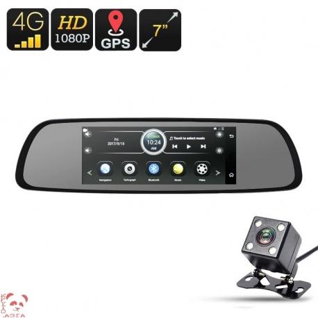 Зеркало заднего вида с 4G, GPS, Андроид, экран 7', регистратор впереди и сзади