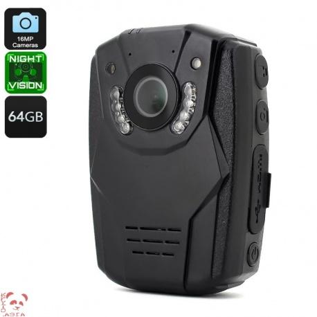 Экшн камера на грудь, защита IP58, 1296p, 150 градусов объектив, 64Гб